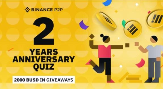 Binance P2P 2nd Anniversary Quiz ft. 2,000 BUSD in Prizes #Cheers2BinanceP2P
