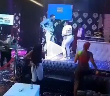 Fat Girl Hop On His Boyfriend And Both Fall Down Immediately – On The Stage