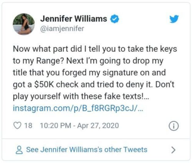 Jennifer Williams Ex Leaks Messages Trashing Her Costars