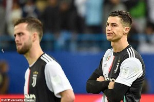 Cristiano Ronaldo looked angry and immediately removed his Italian Super Cup 2nd place medal after Juventus suffered a shocking 3-1 Loss to Lazio in Saudi Arabia, MySportDab reports.