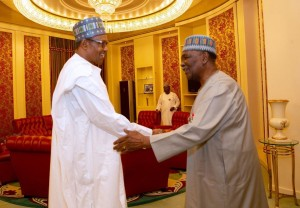 President Buhari Receives Former Head Of State, General Yakubu Gowon At The State House, Abuja.