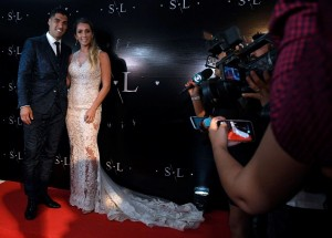 Barcelona forward Luis Suarez and wife Sofia Balbi have renewed their wedding vows at a star-studded gathering in Uruguay attended by Lionel Messi among others.