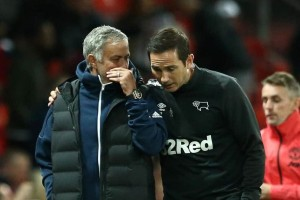 No drinks on me: The pair met as managers when Lampard took his Derby side to Old Trafford last season Tottenham boss Jose Mourinho has revealed he won't share a drink with Chelsea boss Frank Lampard after Sunday's crunch top-four clash between the sides.Mourinho won thre