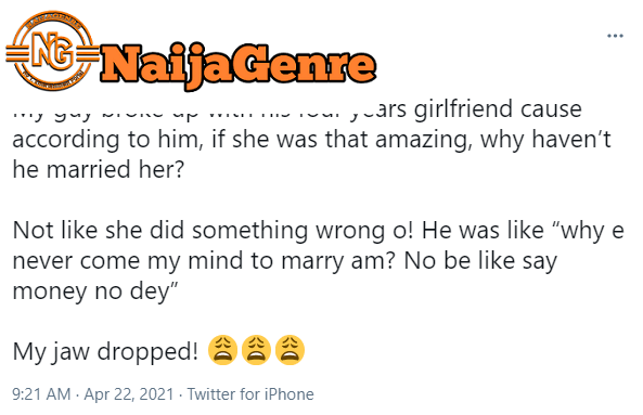 A Man Final Force Apart With His Girlfriend Of 4Years Because She Wasn'T Amazing To Make Him Want To Get Married
