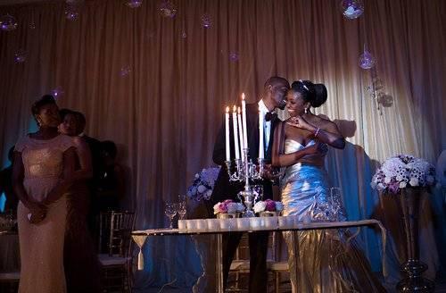 happy groom in wedding reception