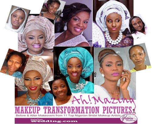 brides in before and after makeup from top Nigerian makeup artists