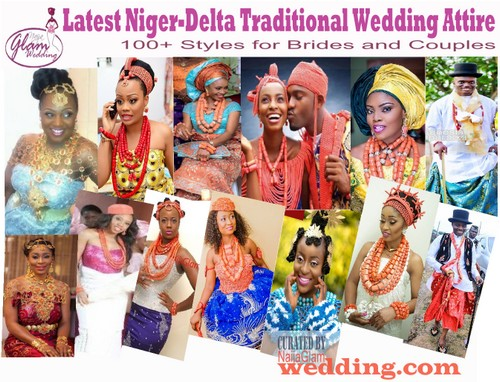 brides and grooms dressed up in niger-delta traditional wedding attire images