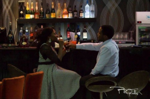 picture of couple drinking after marriage proposal