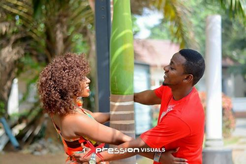 couple in red themed pre-wedding shoot photo