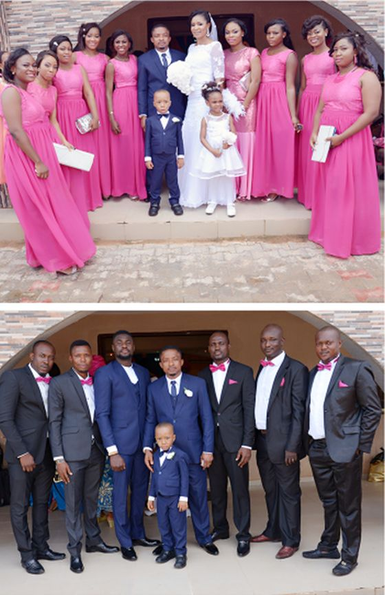Pictures of colourful pink bridesmaids dresses and black groomsmen suits