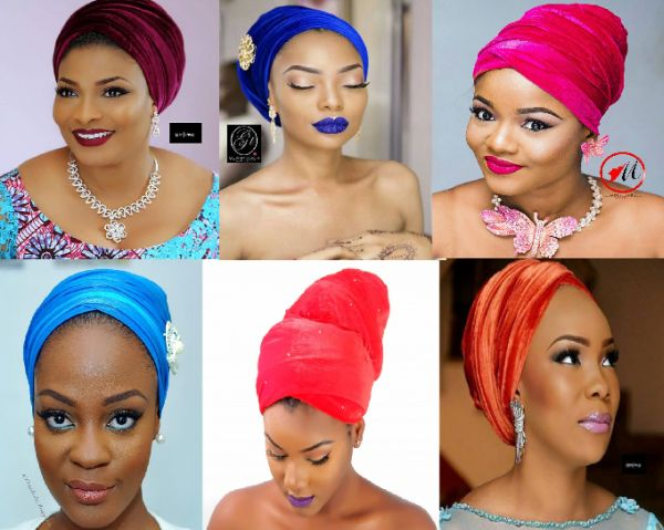 pictures of what Nigerian velvet turbans look on women when tied