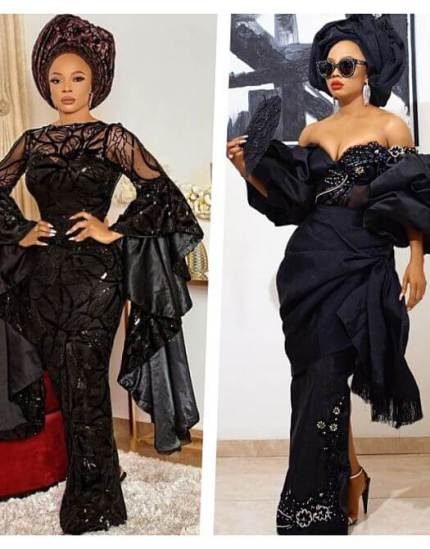 picture of nigerian celebrity Toke Makinwa in off-shoulder blouse aso-ebi fashion styles