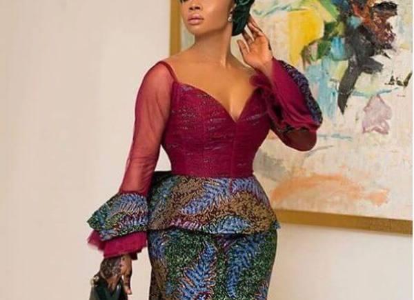 image of Toke Makinwa's nigerian celebrity fashion - peplum tops and skirts