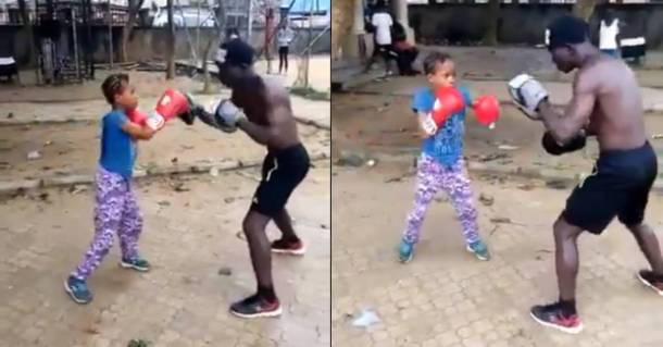 Watch this 8-year-old Nigerian girl with brilliant boxing skills (Video)