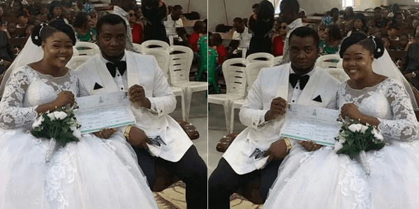 Couple wed with no reception, bridal train, groomsmen, best man and chief bridesmaid