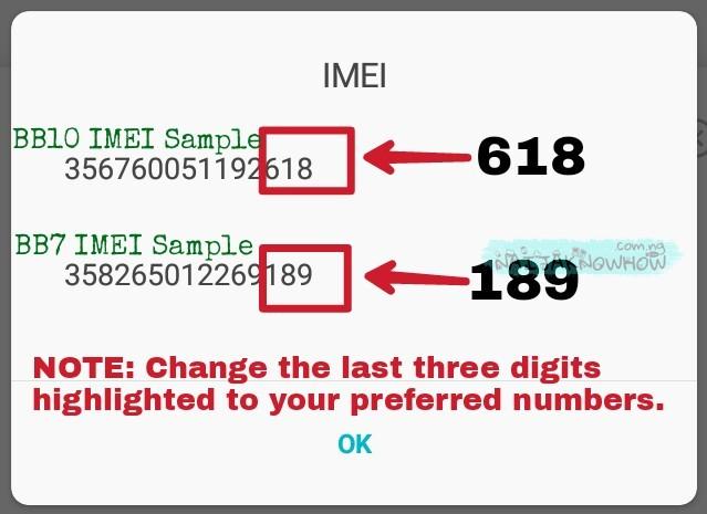 Generate blackberry IMEI | BB10 & BB7 IMEI Samples