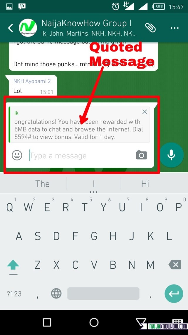 WhatsApp quote messages
