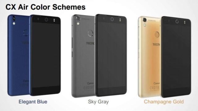 Tecno Camon CX AIR colour schemes