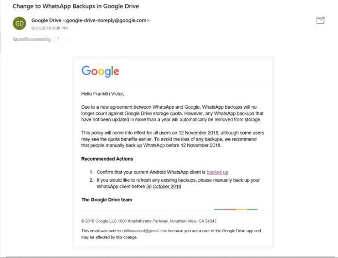 WhatsApp No longer Takes Google Drive Quota