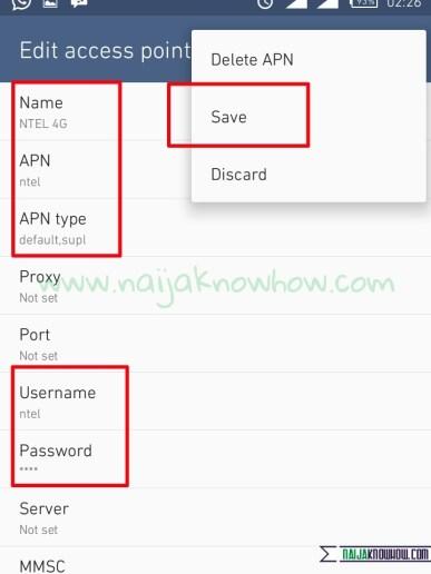 NTEL APN settings