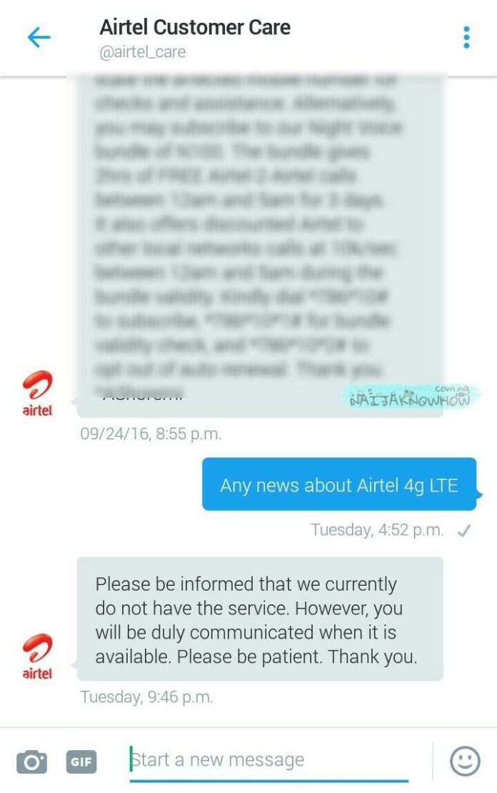 Airtel 4G LTE availability
