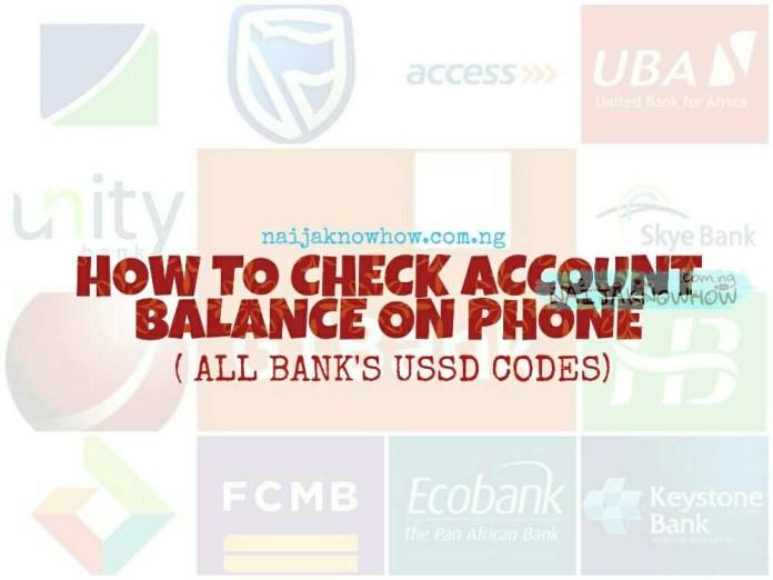 USSD code to check bank account balance on mobile