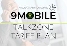 9MOBILE TALKZONE TARIFF PLAN