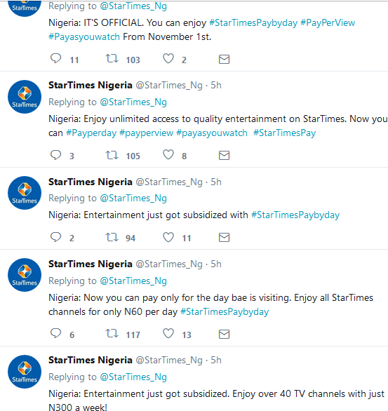 Startimes pay per view proof on twitter