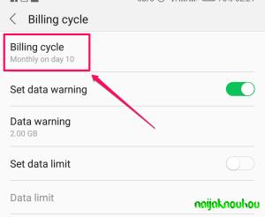 data usage settings