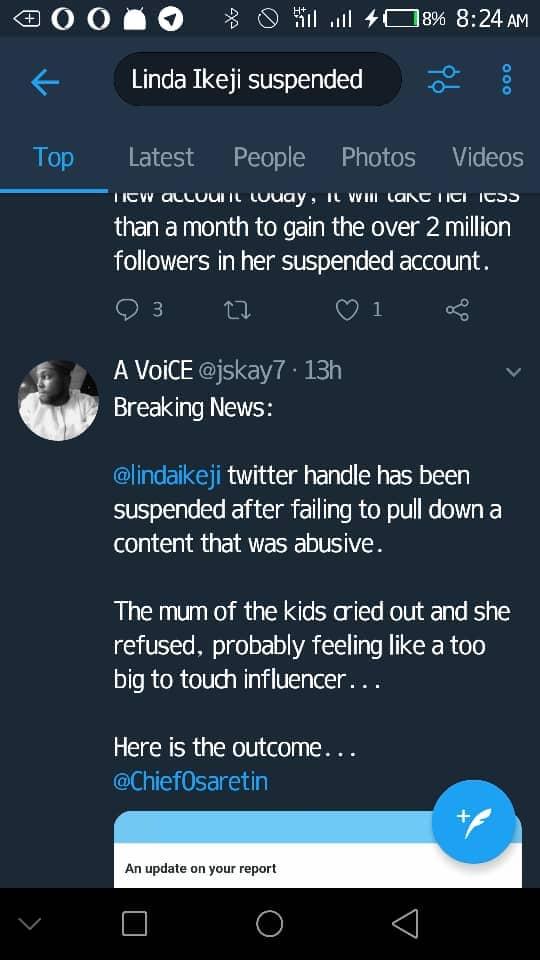 linda ikeji twitter blocked
