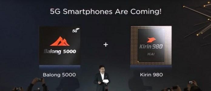 Balong 5000 and Kirin 980 chip