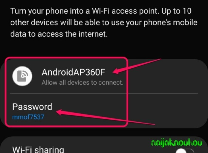 Rename mobile hotspot and password