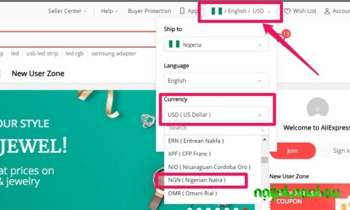 aliexpress change currency to nigerian naira