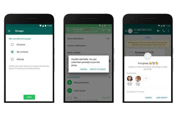 whatsapp group chats controls