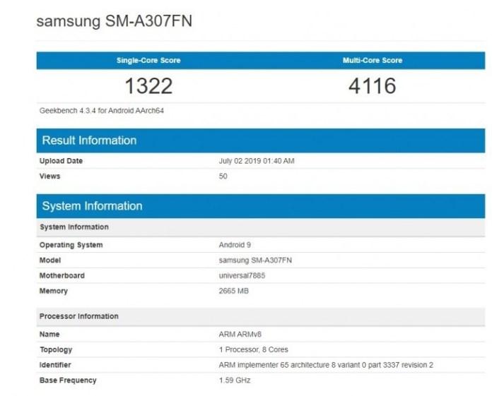 Samsung SM-A307FN model number