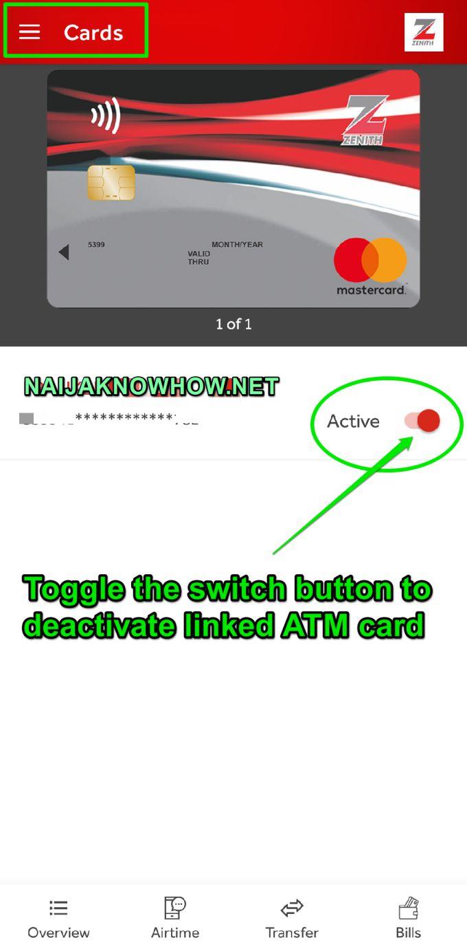 How to block Zenith bank ATM card via app