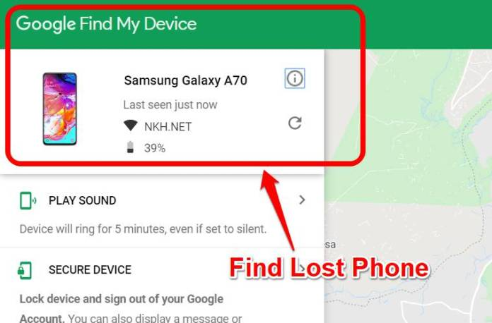 find lost phone using Google Find My Device