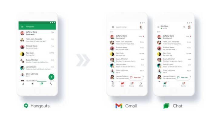 Google Hangouts, Meet, and Chat (photo / Google) applications