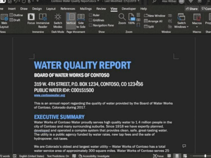 New Dark Mode feature in Microsoft Office Word