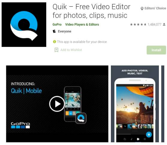 quik - video editing apps for android