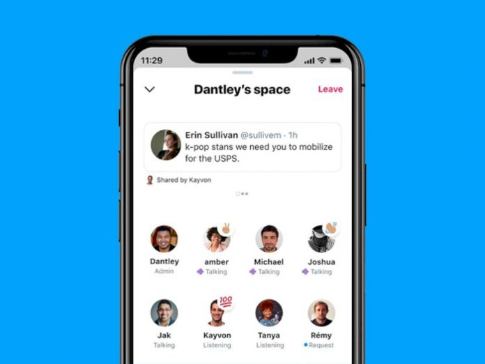 Display of Twitter Spaces feature in Twitter application
