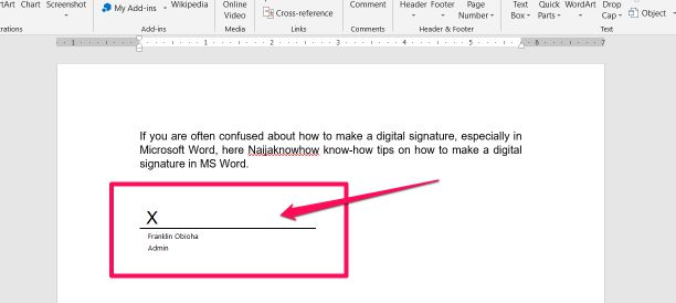 how to create a digital signature on ms word
