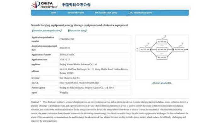 Sound Charging technology patent by Xiaomi