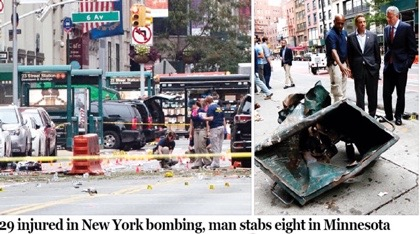 new york police begin manhunt for 28 year old man over bombing