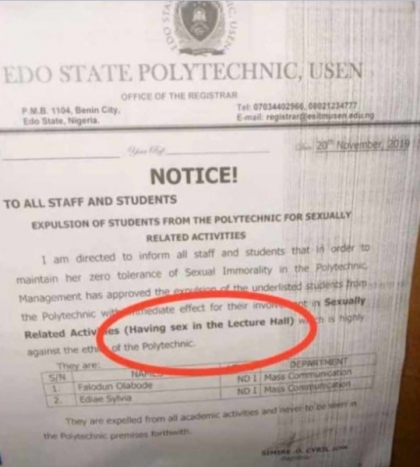 State Polytechnic expels two students caught having sex in 'lecture hall' 1