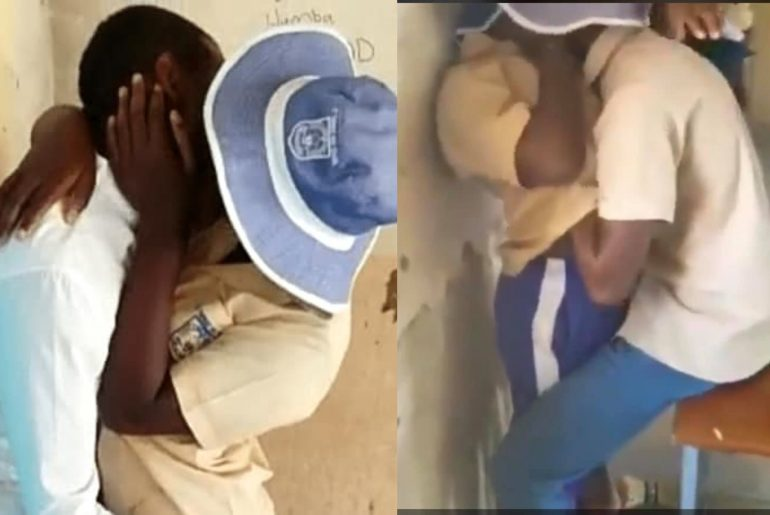 18+VIDEO: Secondary school students capture on camera making out in class