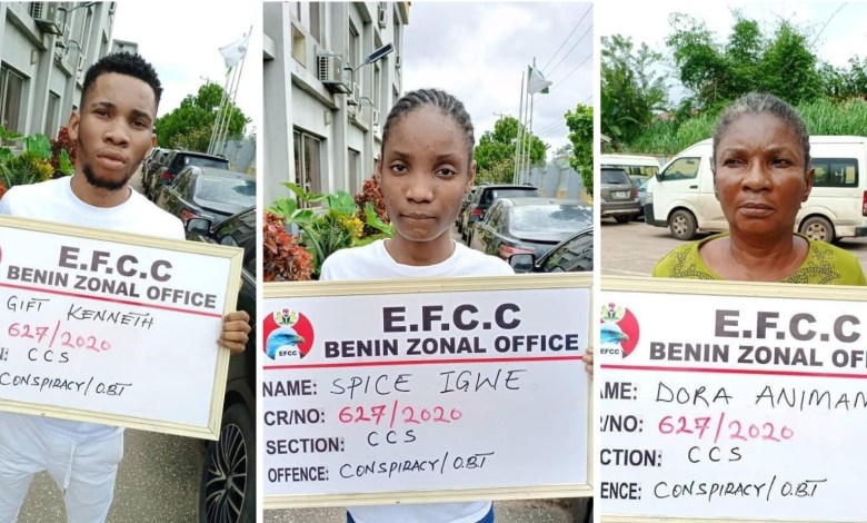 EFCC Arrests Yahoo Boy, Girlfriend And Mother Over Internet Fraud in Benin.(PHOTOS)