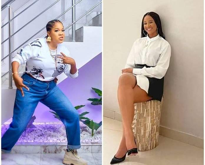 Adesua Etomi and Toyin Abraham battle for the best dressed in hubby's outfits (photos)