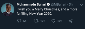 Buhari Sends Nigerian Surprise Xmas Message