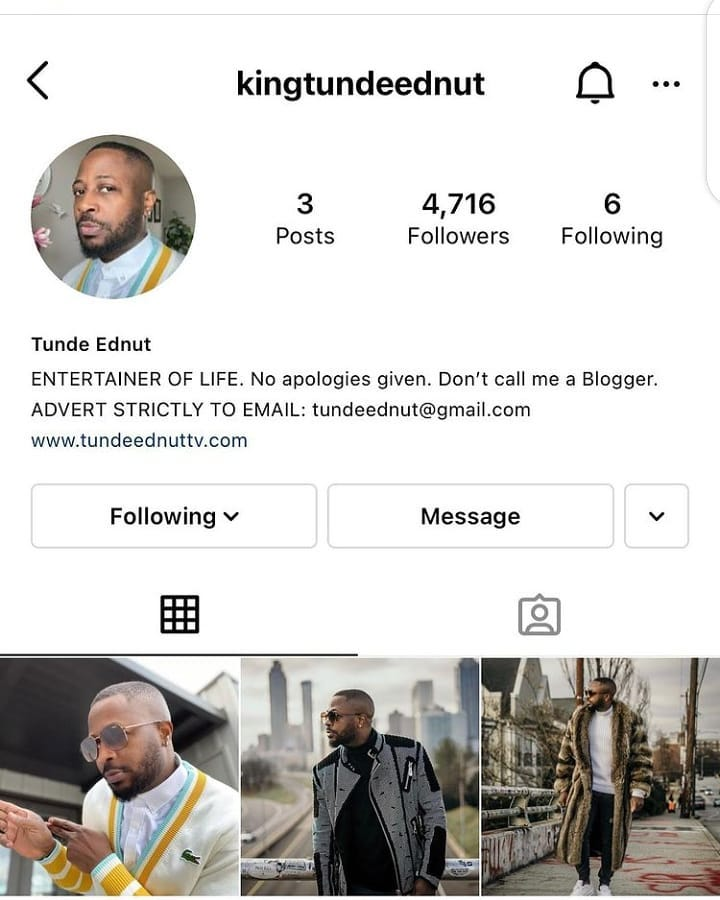 Blogger 'Tunde Ednut' is Back on Instagram (Checkout New IG name)